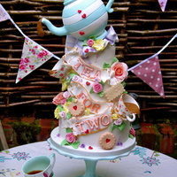 Tea For Two Wedding Celebration Cake I Made For A Summer Wedding Fair Tea for two wedding /celebration cake I made for a summer Wedding fair