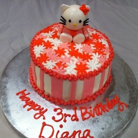 Hello Kitty Birthday Cake A Hello Kitty birthday cake for a little girl's third birthday. The cake is white cake, strawberry filling. The Hello Kitty was formed...