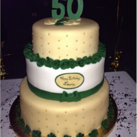 "Emerald 50Th Birthday Cake 8"", 10"", and 12"" fondant covered layers. Gold sprayed with Wilton gold spray. Gumpaste ribbon roses, gold dragees, and..."