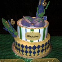 Mardi Gras Cake Buttercream with fondant accents, numbers were gumpaste with gold disco dust, hand made feathers, mask is gumpaste. It would have been...
