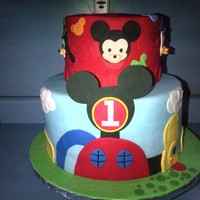 "Mickey Mouse Clubhouse Cake Here is another MM Clubhouse cake. Triple layer 8"" and 12"" cakes covered in fondant with fondant and gumpaste accents. Characters..."