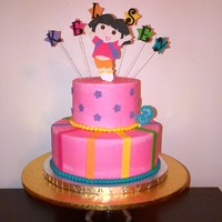 Dora Birthday Buttercream with fondant accents. Dora is gumpaste and gumpaste letters