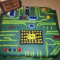 Circuit Board Grooms Cake Red Velvet Cream Cheese filling, butter cream and fondant