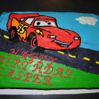 Lightening Mcqueen Chocolate cake, BC icing, FBCT
