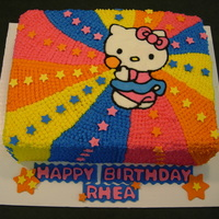 Rainbow Hello Kitty Just starting to get paid to make cakes and still have alot to learn. Customer gave me a picture to copy and this was the result. Vanilla...