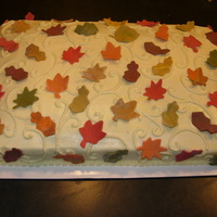 Fall Theme Cake Buttercream with fondant leaves