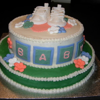 Gender Neutral Baby Shower Cake Top cake is vanilla, bottom cake is chocolate, covered in butter cream with fondant accents.