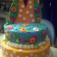 Owl Cake Aqua and Orange Owl cake for my niece's 16th birthday in January 2012.