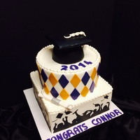 Purple And Gold Square Silhouette Cake