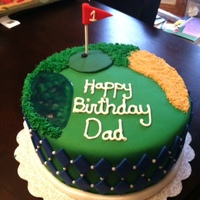 Golf Cake Golf cake for my dad. Green and blue argyle on the sides.