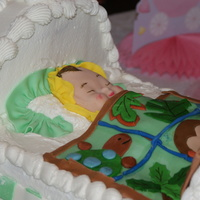 Baby Cradle With Baby And Quilt  Butter cream icing with fondant accents. Bottom was basket weave of green and white fondant.Baby Quilt was all hand cut and is the same as...