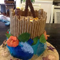 Luau Cake For Friends Birthday So Much Fun To Make I Used A Lot Of Tutorials That I Found On The Web And Here   Luau cake for friends birthday. So much fun to make. I used a lot of tutorials that I found on the web and here.