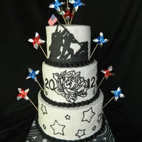 Memorial Day Black and white Iwo Jima silhouette cake.