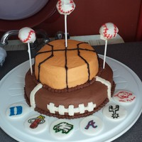 Favorite Sports Teams Cake The bottom tier is devil's food with chocolate buttercream. The second tier is white cake with buttercream. Topped with white cake...