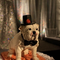 Bulldog Groom's Cake We made this cake for a Wedding Showcase. It is real cake, not a dummy.