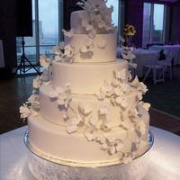Dogwood Wedding Cake W/royal Icing Butterflies I hand-made over 200 gumpaste dogwood flowers for this cake. Each flower was individually wired, then wired together to form garlands. The...