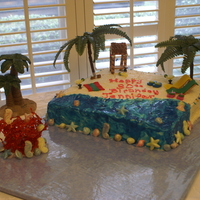 Beach Cake 1  We had a Buffet birthday party for my daughters 30th birthday. I made the Tiki Hut and chairs. All is edible expect for the palm trees and...
