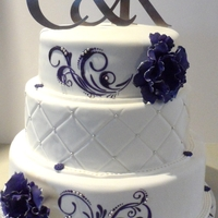 Purple & Silver Theme   Engagement Cake...purple and silver themed cake