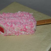 Tobi's Birthday Strawberry Shortcake Ice Cream Bar made out of a white chocolate mud cake.
