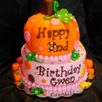 Sweet Little Pumpkin Cake Carved pumpkin cake with fondant accents