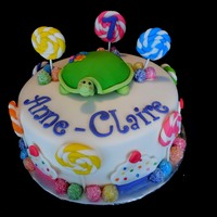 A Candy Themed Cake For A Little Girl Who Also Loves Turtles   A candy themed cake for a little girl who also loves turtles.