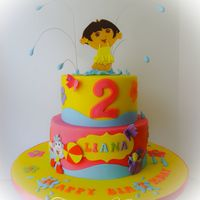 A Dora The Explorer Cake A Dora theme cake for a pool party 2nd birthday. Cake is Kahlua filled with Baileys buttercream and covered in fondant with all fondant...