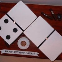 Dominoes And Cigars Birthday Cake Dominoes are two sheet cakes measuring 7.5in x 12.5in each. The espresso coffee cup and saucer is made out of fondant and gumpaste, and the...