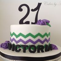Chevron 21St Birthday Cake 21st Birthday cake with chevron and fondant ribbon roses. I used the onlays for the chevron and found it very easy to use, even with the...