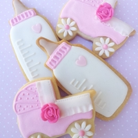 Baby Shower Cookies Baby bottle and pram girl baby shower cookies