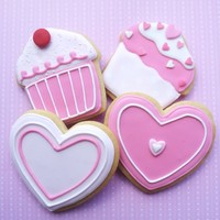 Cupcake And Heart Shaped Iced Cookies Cupcake and heart cookies