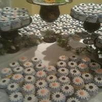 Sunflower Cupcakes For A Wedding Cookies N Cream, Chocolate, and Lemon/Raspberry all with vanilla buttercream.
