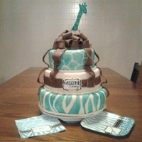 Jungle Baby Shower My friend liked my first cake so she gave me a napkin and a plate for her baby shower and asked me to make a cake to match. This is what I...