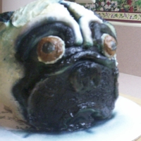 Pug   I created this cake to look like my sister-in-laws pug for her birthday. The features are all fondant and I airbrushed the color on.