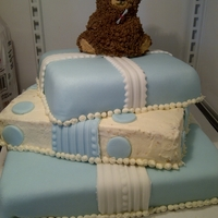 Graduation Bear   Baby sister graduated! 3 different kinds of cake, buttercream frosting and fondant decor