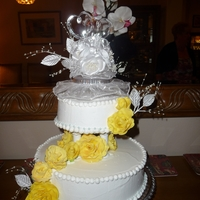 Yellow Roses_English Wedding Cake Yellow Rose cake made from English Wedding cake (a combination of dried fruit and rum) covered in Marzipan (almond dough) and then sealed...