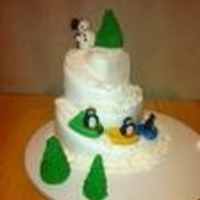 Sledding Down Mountain   I carved the cake and covered in fondant