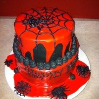 Halloween/birthday Cake! My godson turned 10 today and wanted a Halloween themed b-day cake. I colored the buttercream black and used red ganache for the sides. The...