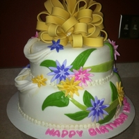 Flower B-Day   gumpaste bow and fondant flowers