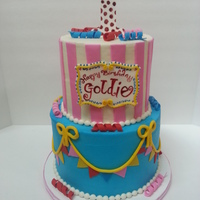 1St Birthday Girlie Carnival Cake This cake was for a sweet little girl turning 1. Her colors were more on the girlie side of carnival. I think it turned out pretty cute...