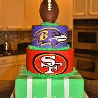 Super Bowl 2013 Ravens And 49Ers Cake Another Super Bowl in the history books.... I knew I put the Ravens on top for a reason. :) The bottom tier was chocolate with vanilla, the...