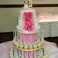Ruffle Wedding Cake And Pop Tower