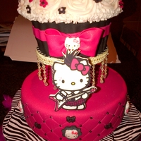 Hot Pink And Black Hello Kitty Cake