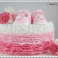 Ruffles And Shoes With Tutorial Baptism cake with fondant ruffles and ruffle roses. I did a picture tutorial on facebook for the baby shoes - Chantel's Cakery