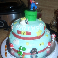 Super Mario Bros Cake I made this for my 6 yr olds birthday, a mixture of cakes on CC inspired me- thanks to everyone! All firsts- first stacked, first fondant,...
