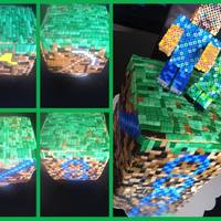 Minecraft 3D *Finished product after 3 days, I so afraid to tilt the panels onto the cake but I had no problems doing it yay