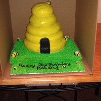 Beehive Cake I used a regular sheet cake for the base and for the beehive I used 10', two 9',and two 6' with the sides rounded out to...