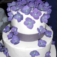 Wedding Cake 3 -tiered wedding cake with gum paste hydrangea flowers
