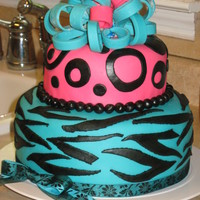 Zebra Print And Polka Dots Fondant Cake   my daughter's 12th birthday cake, my first all from scratch cake