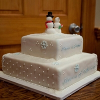 Winter Wonderland Winter themed bridal shower cake. The cake was red velvet with cream cheese frosting. The fondant was white and I dusted it blue. I also...