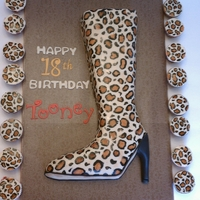 2D Cheetah Print Lady Boots Cake MY first hand painted cake.